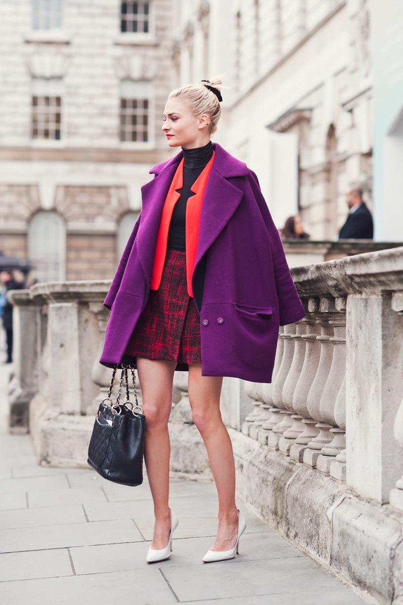 Overside purple coat with red and orange
