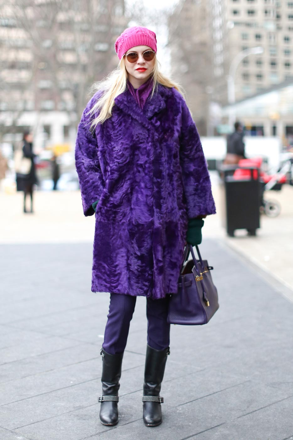 Giant purple coat with pink hat