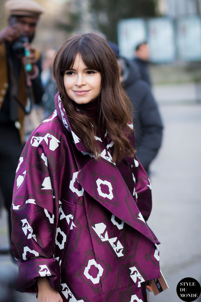 Oversize purple floral print coat