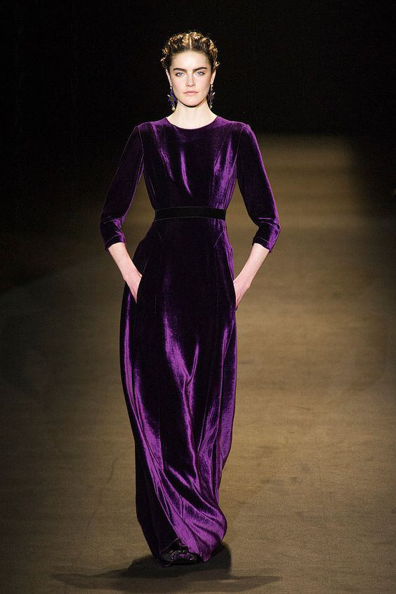 Purple velvet dress from from Alberta Ferretti