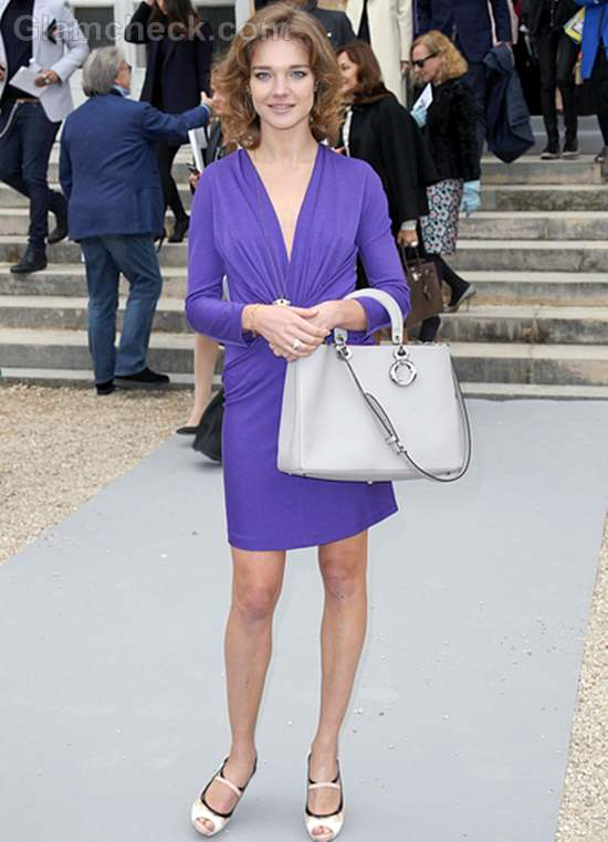 Purple dress and grey bag