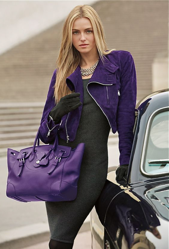Purple jacket, grey dress and purple bag from Ralph Lauren