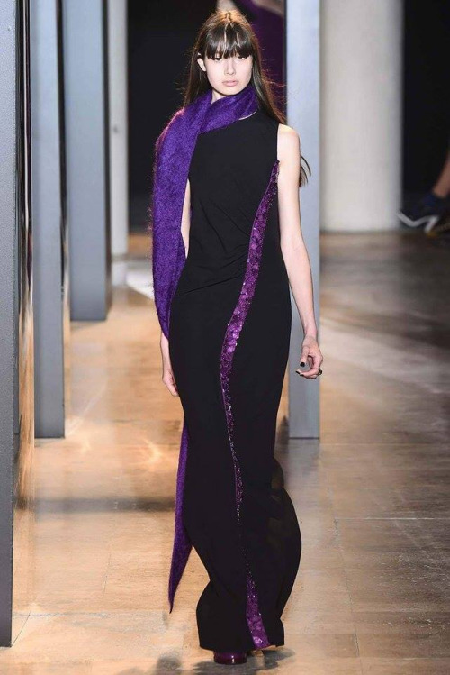 Purple scarf with black dress