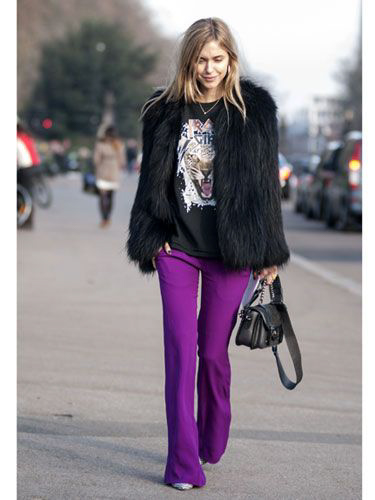 Purple pants and black coat