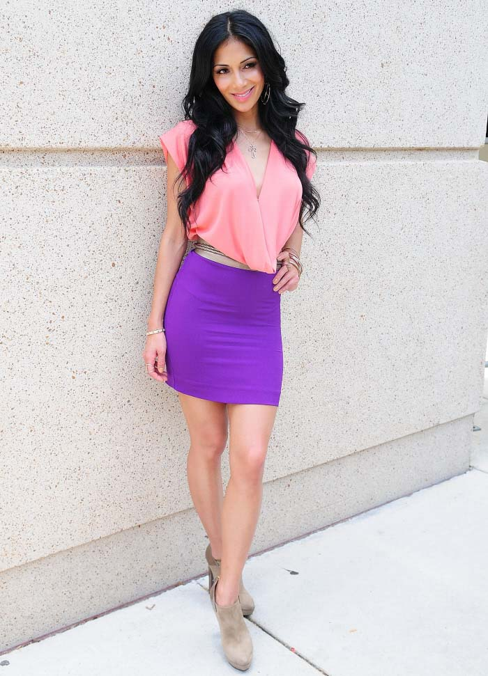 Purple skirt and pink top