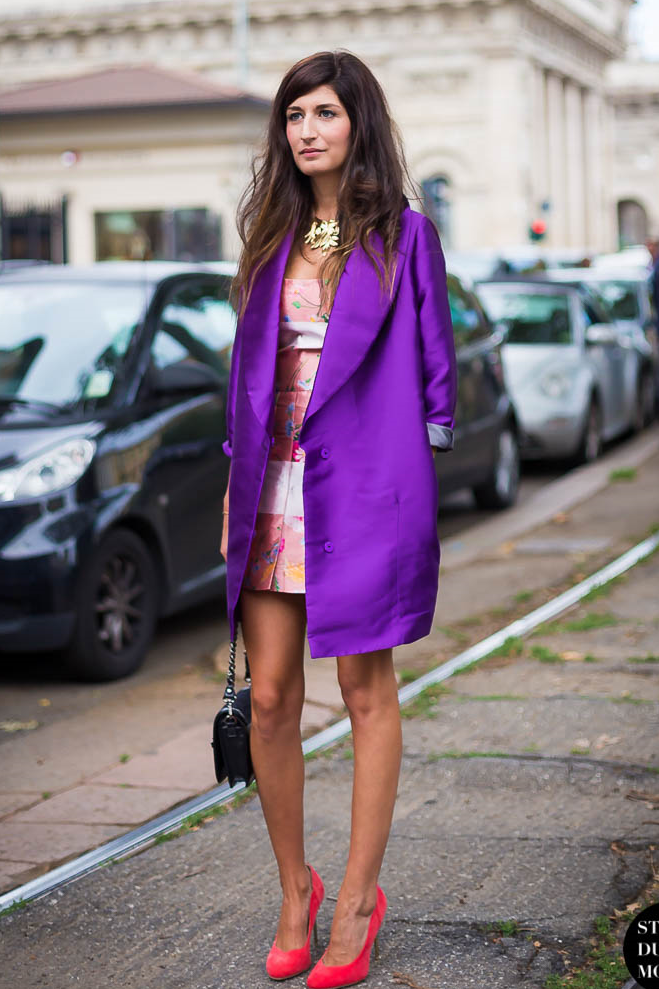 Purple coat and red shoes