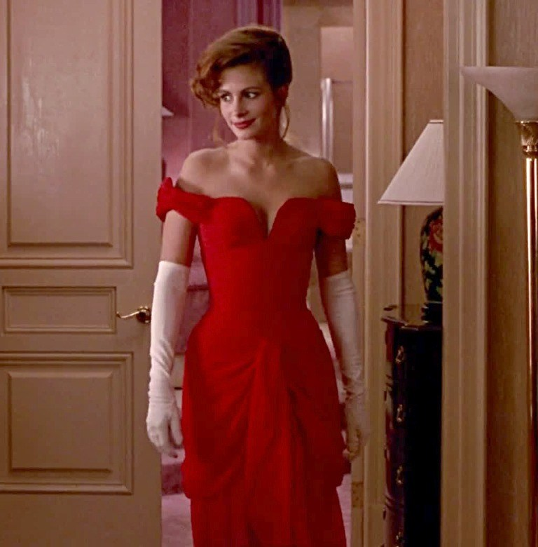Julia Roberts Red Evening Prom Dress in 'Pretty Woman' (Credit: Buena Vista Pictures/Photofest)