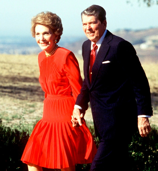 "Nancy Reagan, 1991 ""Reagan Red"" (Credit: Dirck Halstead/Getty Images)"