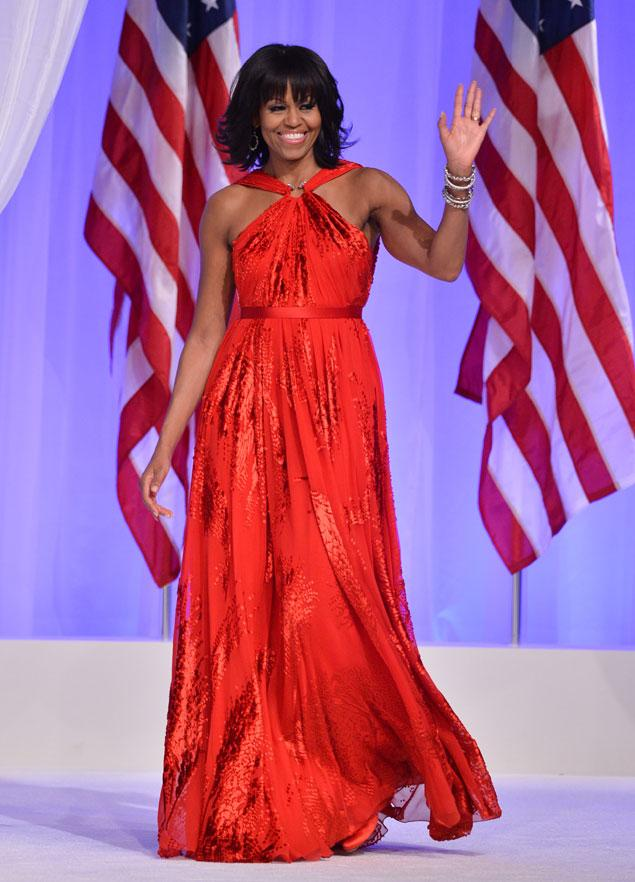 First Lady Michelle Obama Wears a Jason Wu Red Gown To The 2013 Inaugural Ball (Credit: Getty Images)