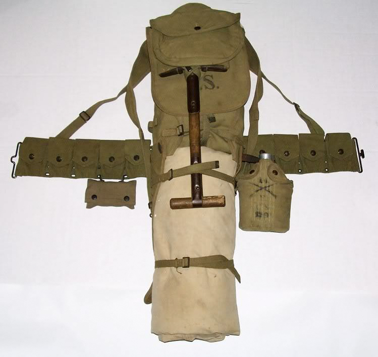 WWI Canvas Haversack; Assembled U.S. Army Field Pack, 1917