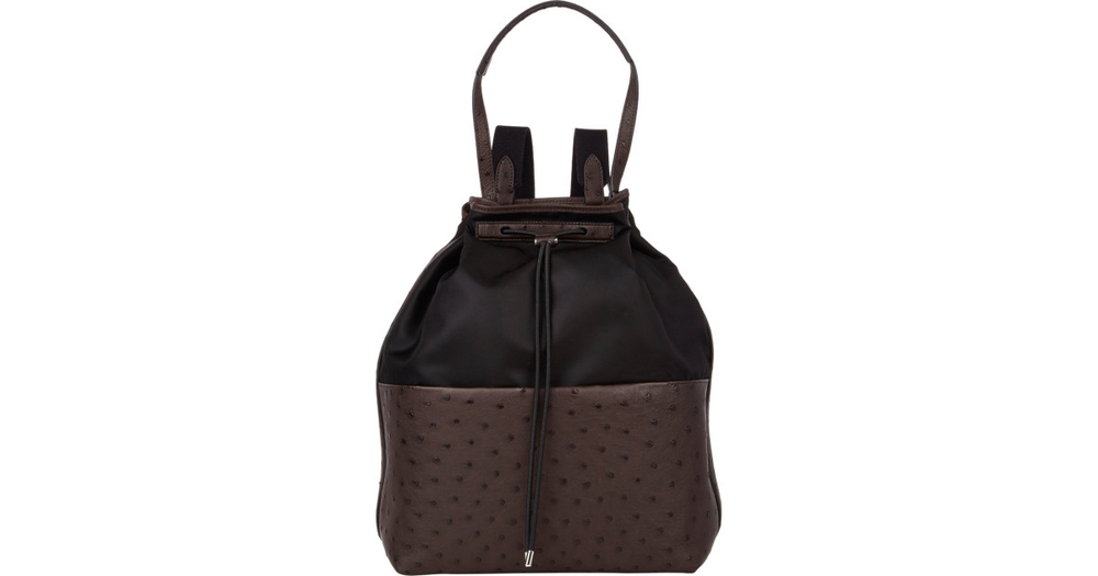 The Row ostrich-trim drawstring backpack