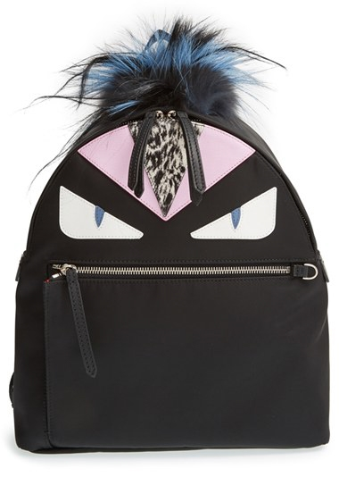 Fendi Monster nylon leather and fur backpack