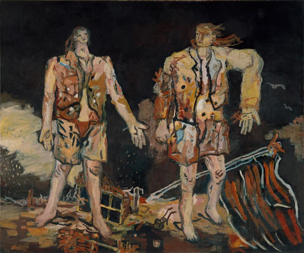 Georg Baselitz, The Great Friends, 1965, oil on canvas, 98.4 x 118.1 inches (250 x 300 cm) © Georg Baselitz 2016, courtesy Museum Ludwig, Cologne. Photo by Frank Oleski, Köln