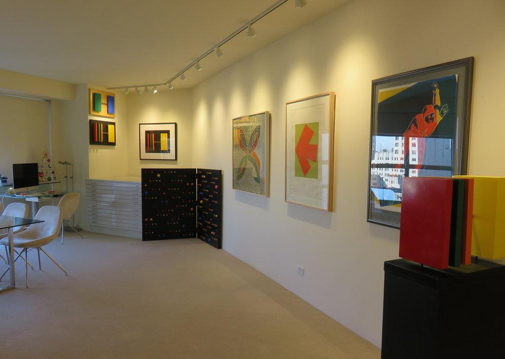 Above: Installation view,  Kelly, Stella, Warhol , Upsilon Gallery, New York, 2017.