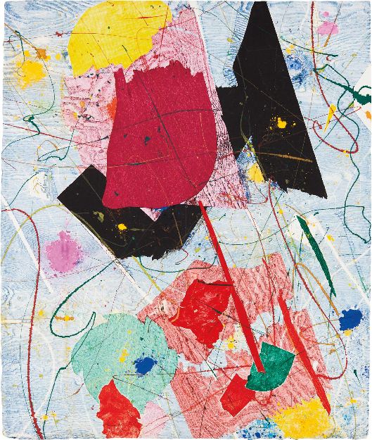 Above:  Untitled , 1984, Monotype in colors, on handmade paper, 29 1/2 x 24 3/4 in. (75 x 63 cm);  Abstract Expressionism: De Kooning, Francis, Johns, Mitchell, Motherwell, Rauschenberg , Upsilon Gallery, New York, 2019. Photo by Caius Filimon.
