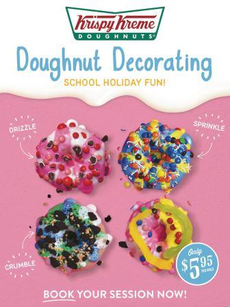 Doughnut Decorating is a fun activity for kids during school holidays and only costs $5.95 per child for a 20 min session where they get to decorate and take away a couple of doughnuts.  Bookings essential by phoning the store: 02 9212 4399  26-30 September / 10am to 4pm  3-7 October  / 10am to 4pm