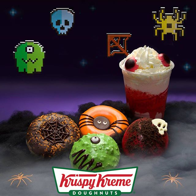 THE RETURN OF KRISPY SKREMES Get into the Halloween spirit with Krispy Kreme's unBOOlievably spooky new range of Doughnuts & Skremes Shake.  4 limited edition doughnuts: Skully, Spooky Spider, Monster Jam and Choc Spiderweb ($3.50 each). Plus a limited edition drink Strawberries & Skreme Shake ($6.95 regular and $7.95 large). Free Original Glazed® doughnut to any customer who comes dressed up instore on 31 October only. One per customer. #krispykreme #halloween #henrydeaneplaza