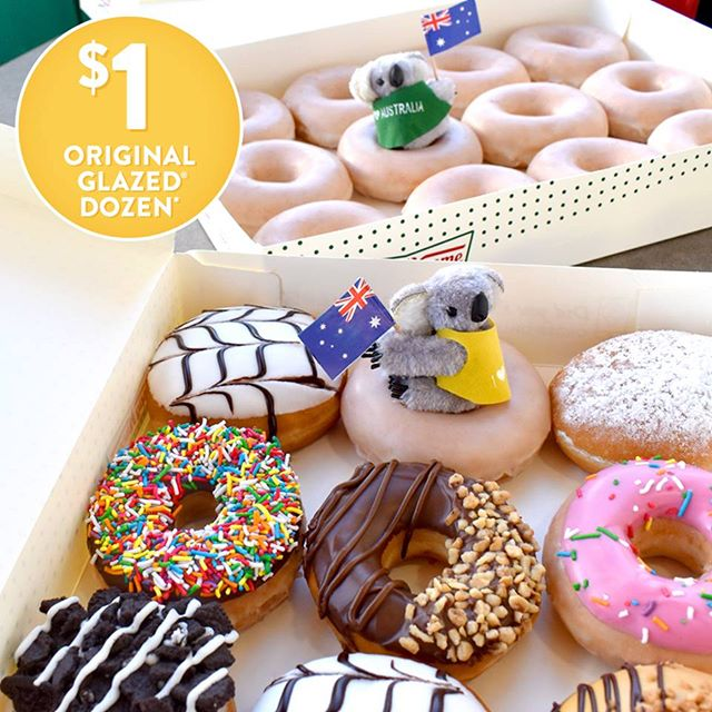 $1 ONE DAY ONLY SPECIAL For any dozen of Krispy Kreme doughnuts purchased, you can get another Original Glazed dozen for just $1.Get ready to celebrate the long weekend in style. Available Friday 25/01 at Krispy Kreme Henry Deane Plaza. #krispykreme #henrydeaneplaza