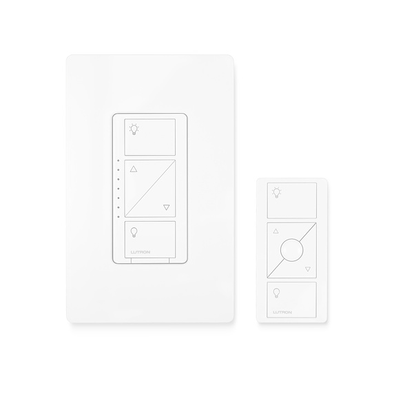 LUTRONWIRELESS SWITCHES - Works with up to 600 watts of incandescent or halogen; 150 watts of dimmable LED or dimmable CFL. Caseta Wireless is compatible with the Lutron Smart Bridge or the WINK hub for control of your lights via your smart phone