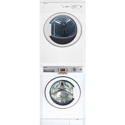 "BLOMBERG WASHER/DRYER - 24"" Front load stacked washer/dryer. 1.95 cu. ft. of laundry while the dryer dries 3.7 cu. ft.WASHER MODEL: WM77120DRYER MODEL: DV17542"
