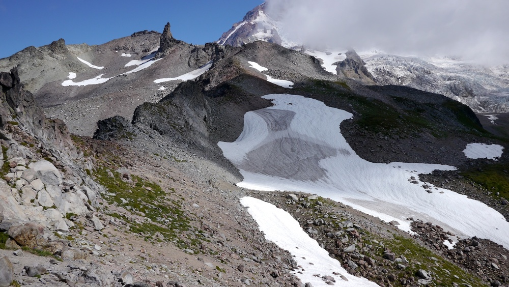 terrain leading to Tokaloo rock, the summit visible now just left of Tokaloo Spire