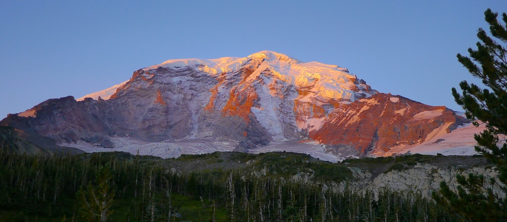 morning alpenglow approaching lower Curtis Ridge