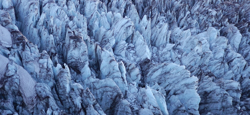 ice formations on the Carbon Glacier