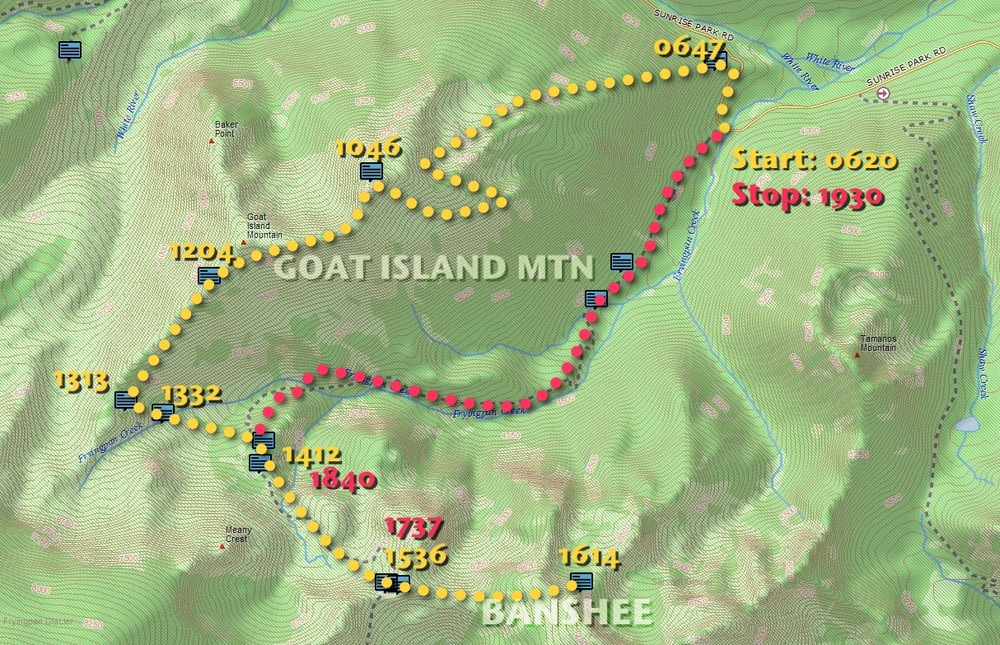 Goat Island/Banshee InReach report time map