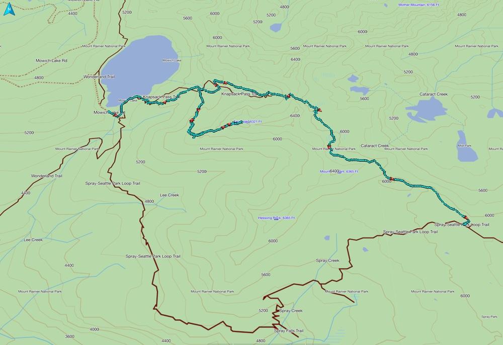 GPS track of Knapsack Pass/Fay Peak portion