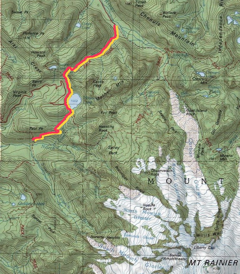 trail coverage either side of Mowich Lake