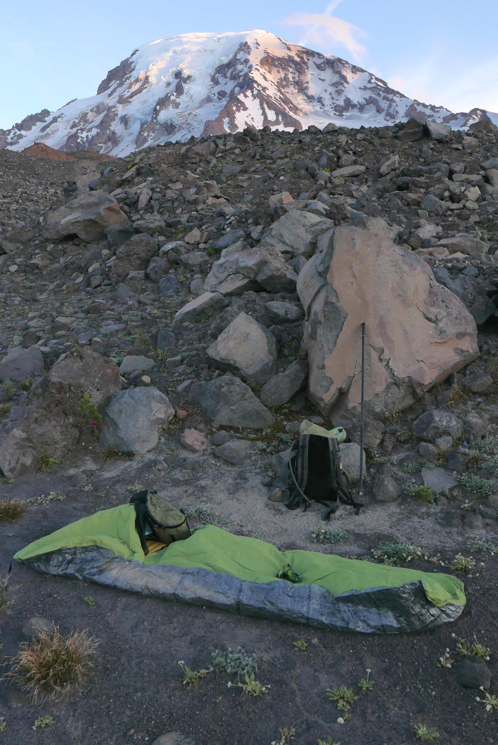 Borah Gear Snowyside custom bivy on Mt. Adams