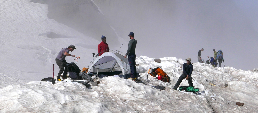 climbers prepping for the night at Camp Muir (Paradise/Muir Loop)