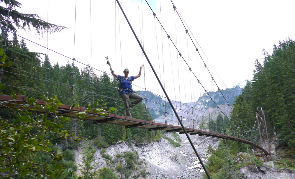 the Tahoma Creek suspension bridge (Western Loop)