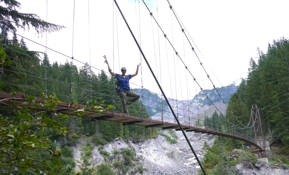 the Tahoma Creek suspension bridge (Western Loop)