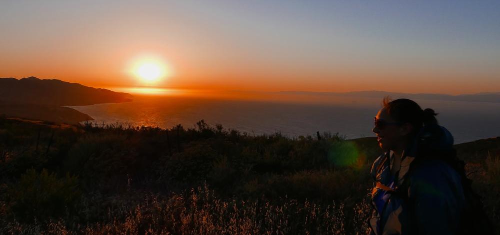 sunset on Santa Cruz Island as we head back to camp