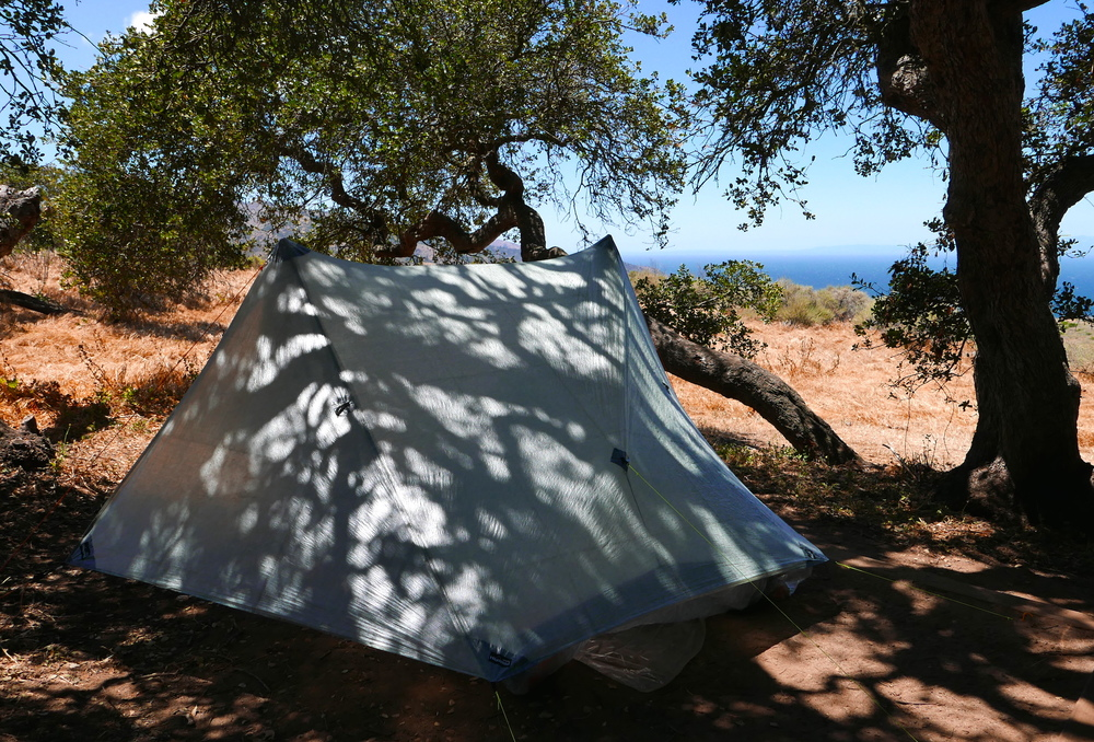 ZPacks Duplex at Del Norte, Santa Cruz Island, Channel Islands National Park.