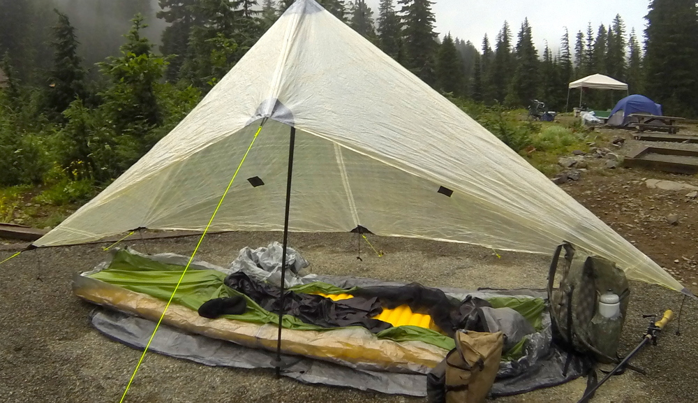 ZPacks Pocket Tarp in use with a bivy at Mowich Lake campground, Mt. Rainier National Park