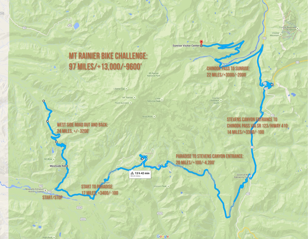 The Bike Challenge covers all the significant climbs in Mt. Rainier National Park