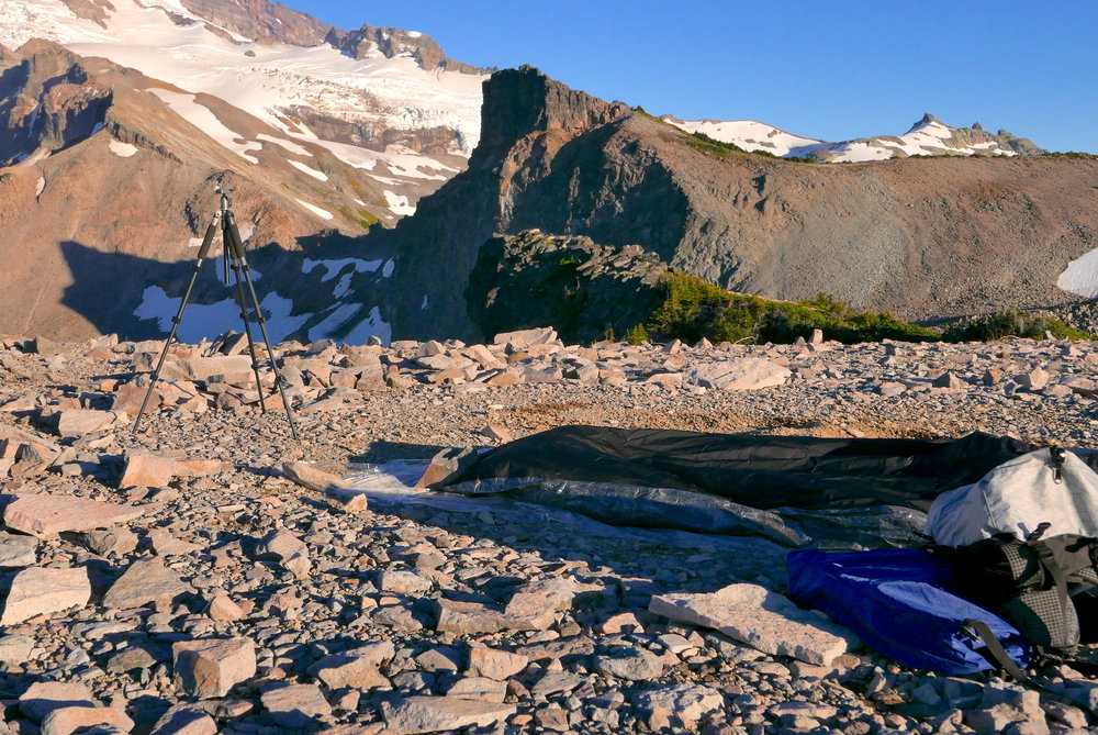 bivy site on Mt. Rainier (Colonnade) on combo bike/hike with Zimmerbuilt pack and food bag