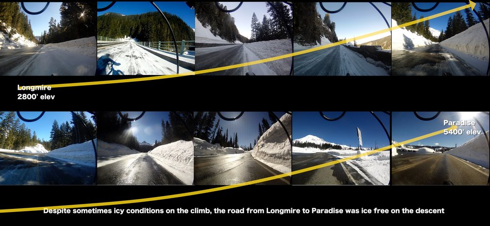 frame grabs from video on the climb from Longmire to Paradise showing road conditions