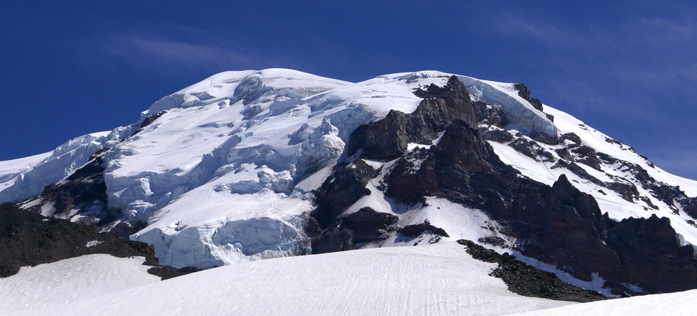 Mt. Rainier's ice caps from the Russell Glacier