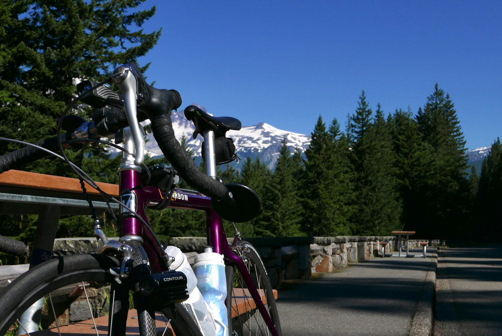 taking a break at Backbone Ridge during RIMROBOD, a 121 mile ride with 15,600' of climb
