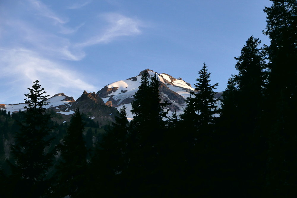 Glacier Peak appears on climb to point 5900