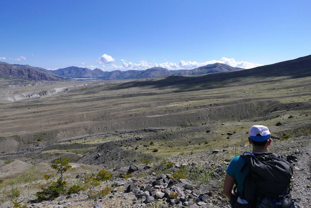 Looking back on Pumice Plain, Mt. St. Helens north side blast zone