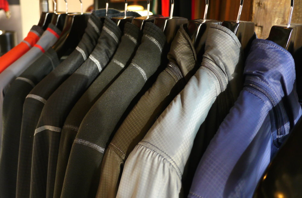Rack of Beyond Jackets at the retail store