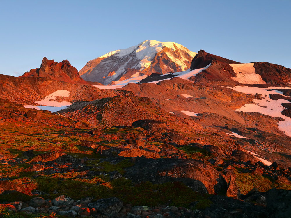 Alpenglow from our bivy site, Mt. Rainier