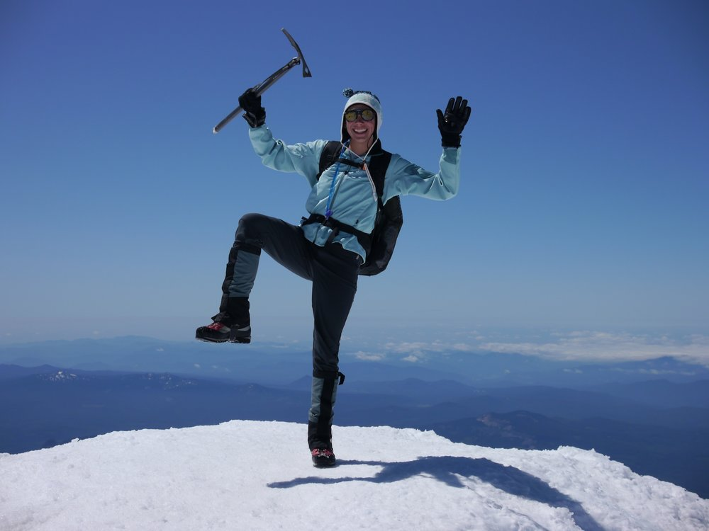 Cassie demonstrates perfect form on the summit of Mt Adams, 2011