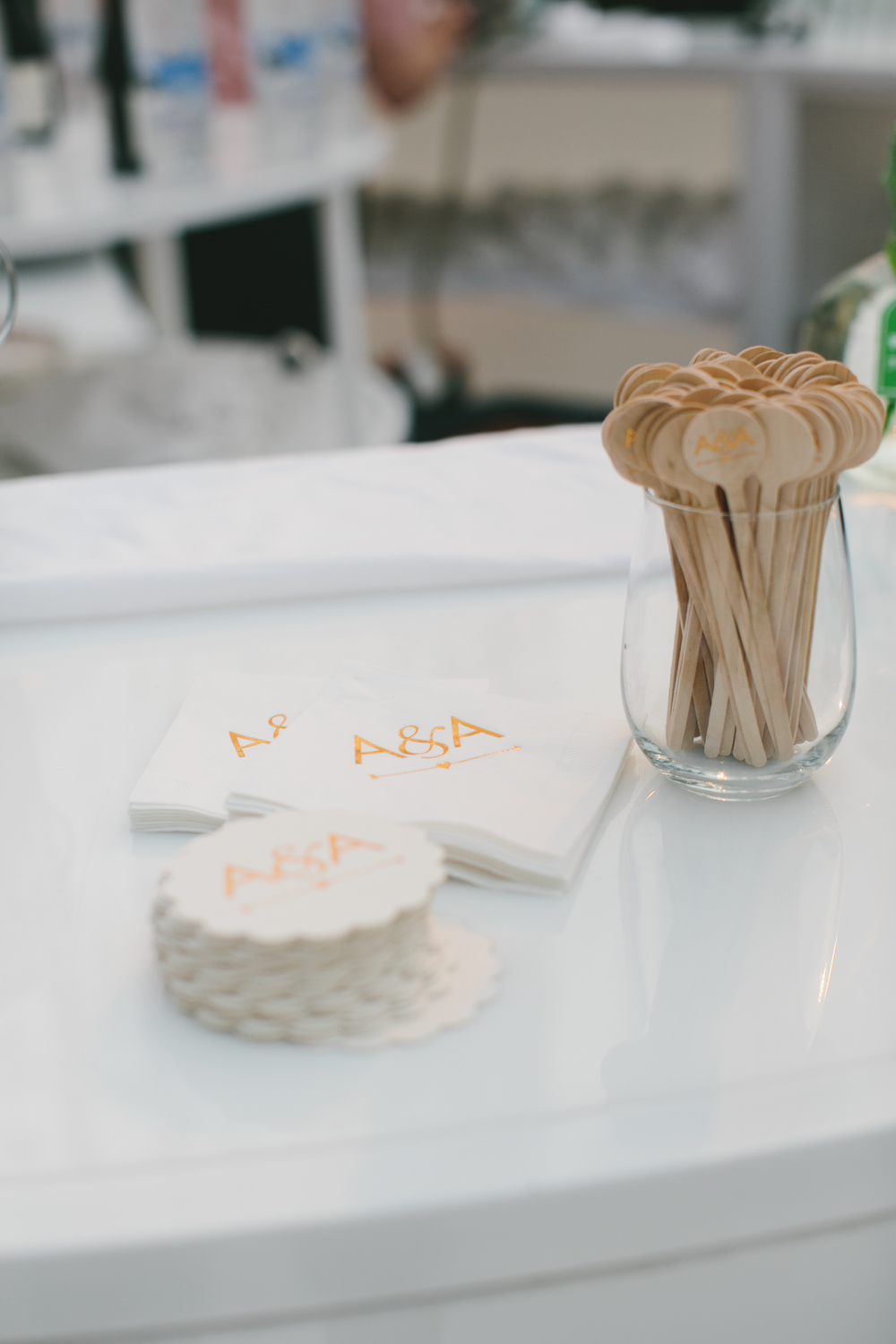 Custom Coasters and Stir Sticks | Wedding Planning & Design by Cynthia Martyn Fine Events |  | Fine Art Wedding Planning & Design