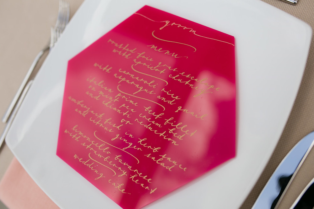 Lucite Menu | Toronto Couple Married in Florence, Italy | | Wedding Planning & Design by Cynthia Martyn Fine Events |  | Fine Art Wedding Planning & Design