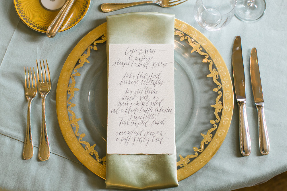 Arte Italica Charger Plates | A Wedding Elopement at the Shangri-La Hotel Paris | Wedding Planning & Design by Cynthia Martyn Fine Events | Fine Art Wedding Planner & Designer | Paris Wedding Planner
